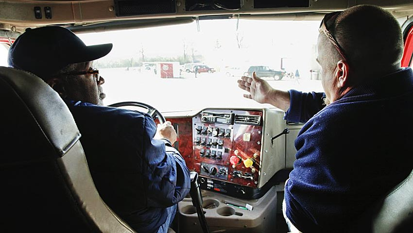 Truck Driving Test with Instructor