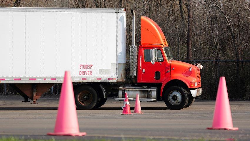 Semi-truck parking test in training field