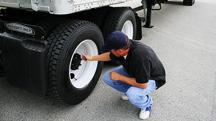 Pre-Trip inspection of commercial truck