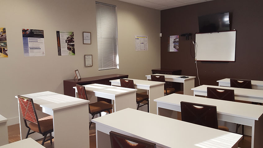 Truck Driving Training Classroom with Table and chairs